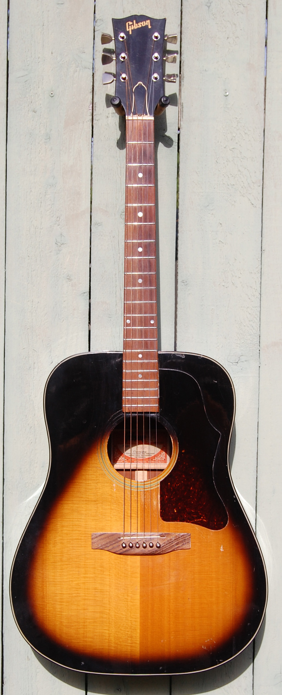 1974 Gibson J45 tobacco burst.  Great player.  Reportedly played by Bob Dylan.